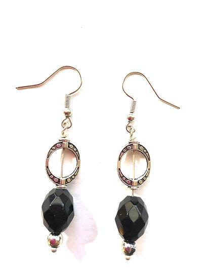 Black & Silver Glass Earrings