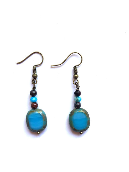 Turquoise & Brown Glass Earrings