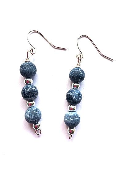3 Blue Beaded Earrings
