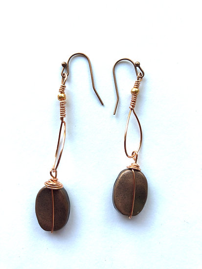 Brown Wire Wrapped Glass Earrings