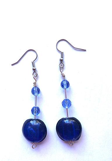 Dark & Light Blue Glass Earrings
