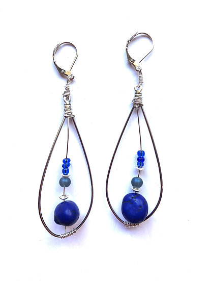 Blue Toned Drop Glass Earrings