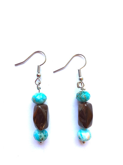 Brown & Turquoise Glass Earrings