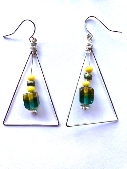 Triangle Green & Yellow Earrings
