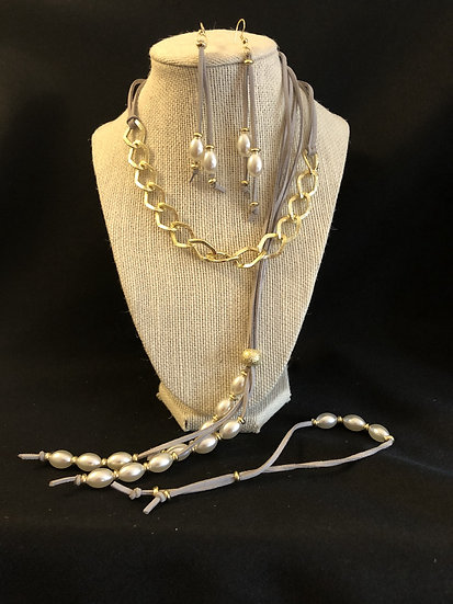 White Chain Leather Beaded Set