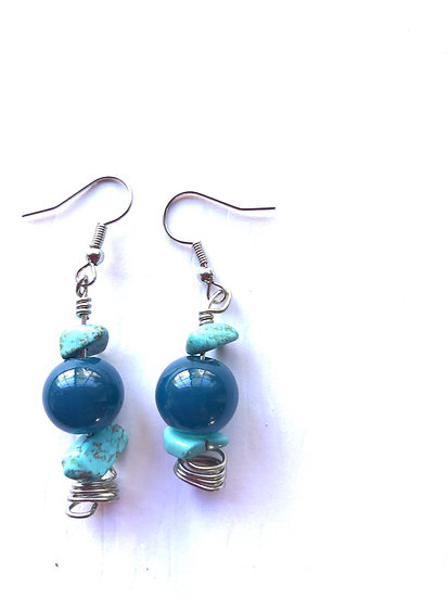 Turquoise & Blue Round Earrings