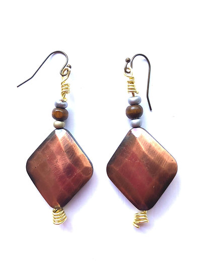 Bronze & Brown Diamond Glass Earrings
