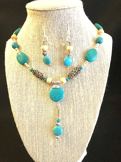 Turquoise & Pearl Beaded Set