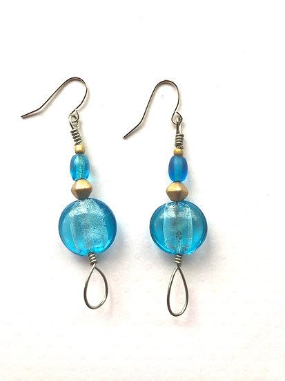 Turquoise Loop Silver Earrings