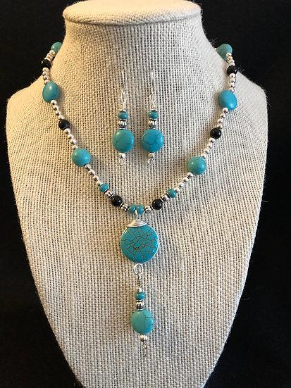 Turquoise & Black Droplet Set