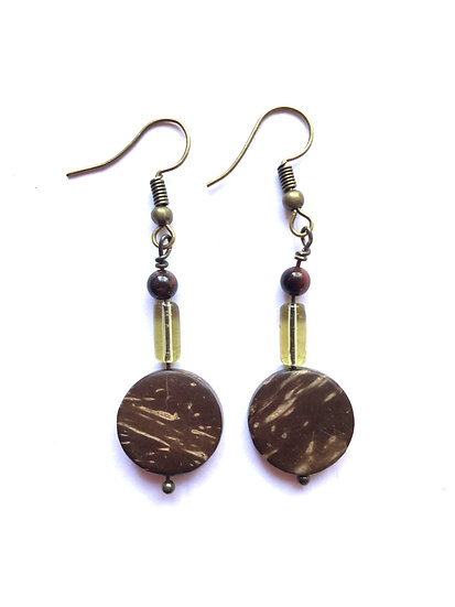 Brown Round Glass Earrings