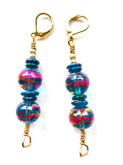 Blue & Pink Colored Earrings