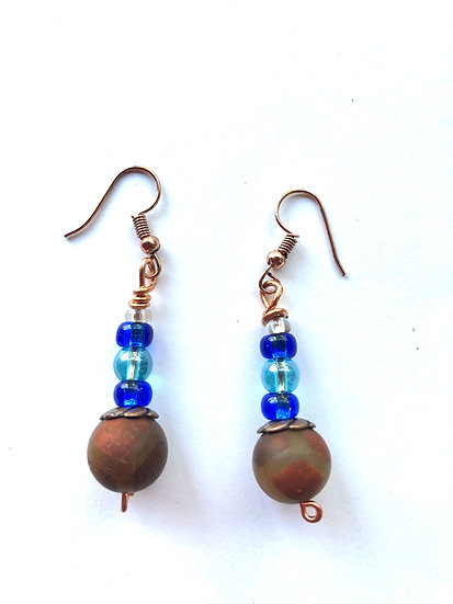Blue With Bronze Glass Earrings
