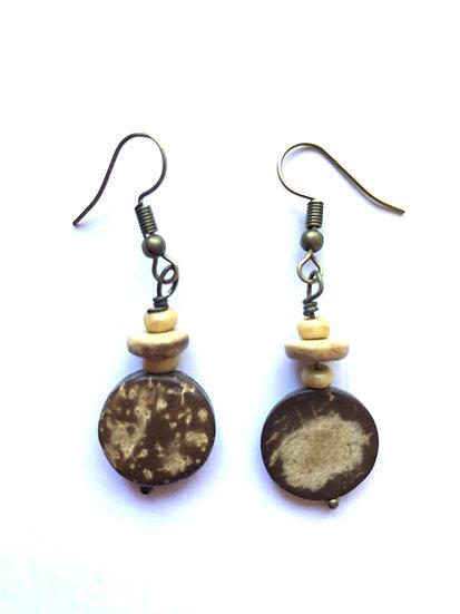 Brown & Tan Round Earrings