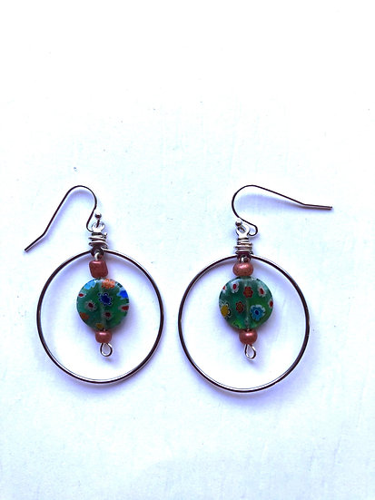Green Spotted Glass Earrings