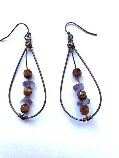 Brown & Purple Droplet Glass Earrings
