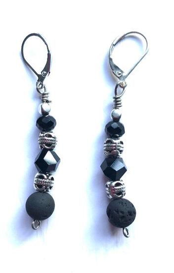 Beaded Black & Silver Earrings