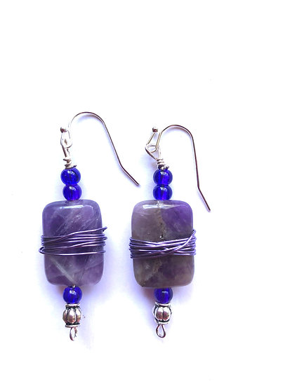 Blue rectangle wire wrapped earrings