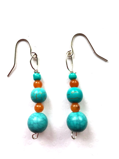 Turquoise & Orange Earrings