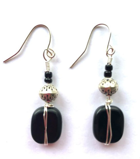 Black Wire Wrapped Earrings