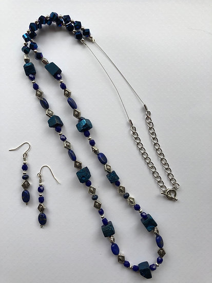 Black & Blue Beaded Set