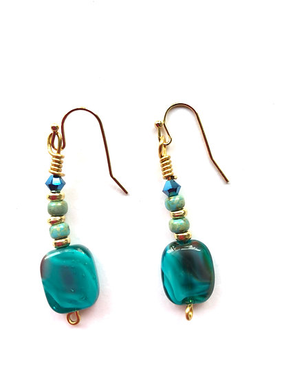 Turquoise Tri-Colored Earrings
