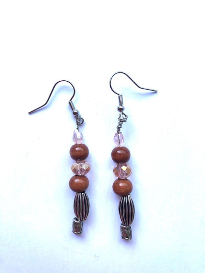 Brown & Peach Glass Earrings