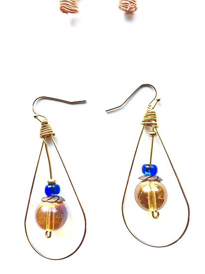 Brown & Blue Droplet Glass Earrings