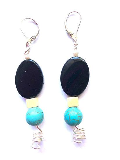 Black & Turquoise Glass Earrings