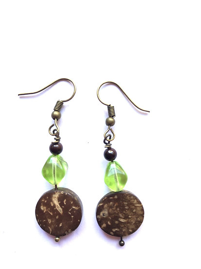 Brown & Green Round Earrings