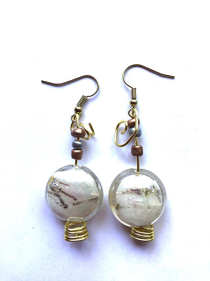 Pearl Colored Glass Earrings