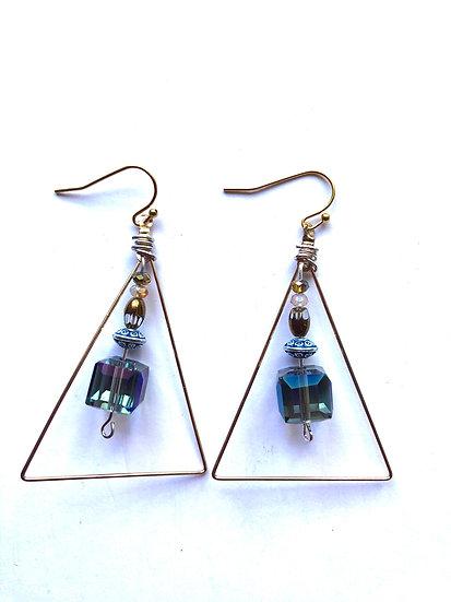 Blue Triangle Glass Earrings