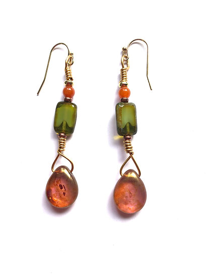 Droplet Green & Peach Earrings