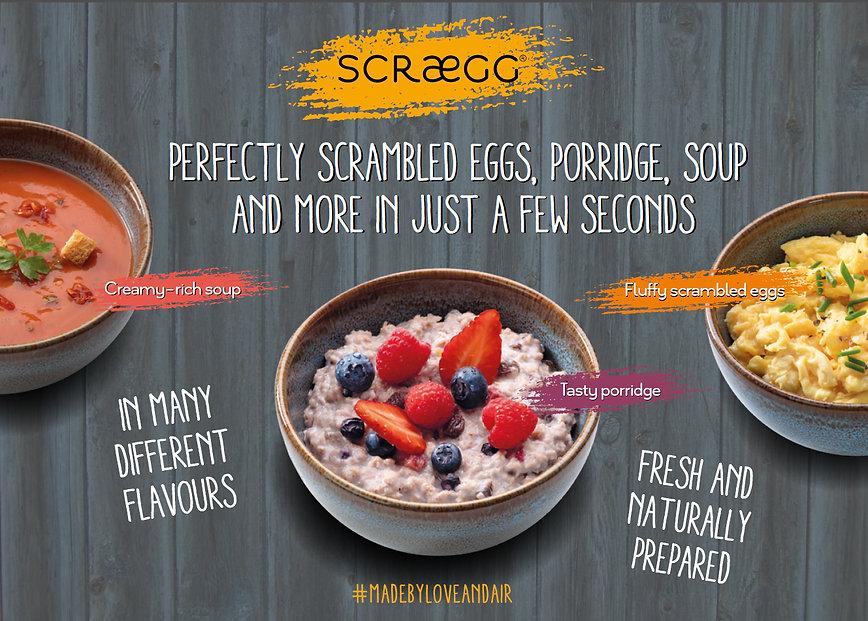 instant scrambled eggs, porridge, soups,