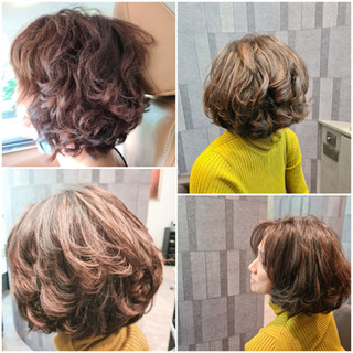 Bob hair styling and colour