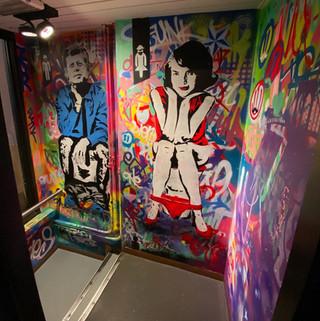 Muurschildering gang Jackies Deventer