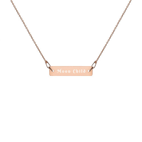Moon Child Bar | Engraved Silver Bar Chain Necklace