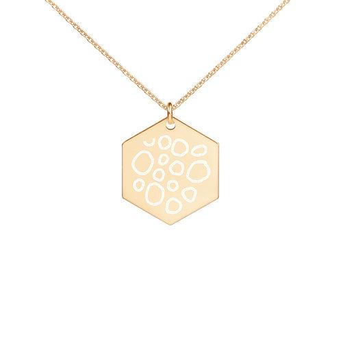 Subtly Wild | Engraved Silver Hexagon Necklace