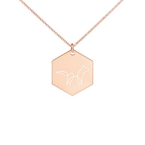 Fox Calling | Engraved Silver Hexagon Necklace