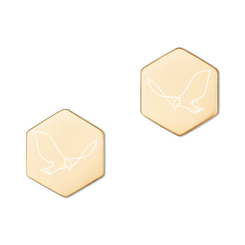 Fly Free | Sterling Silver Hexagon Stud Earrings