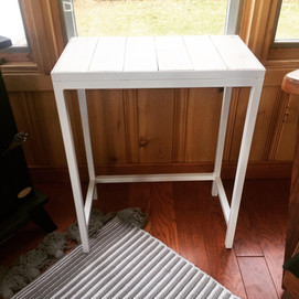 Table de chevet blanche mat et bois ''white washed''