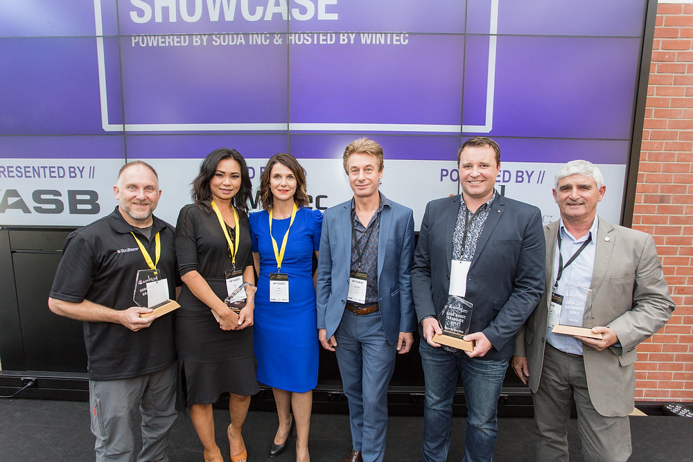 Graduating clients and SODA Inc. CEO and Chairman. L-R: Andre Prassinos, founder of BioBrew; Kai Cuff, founder of 99 Reviews; Erin Wansbrough, SODA Inc. CEO; Graham Gaylard, SODA Inc. Chair; Nick Moore, co-founder PlateMe; Nigel Dickinson, founder of Kirkyl.
