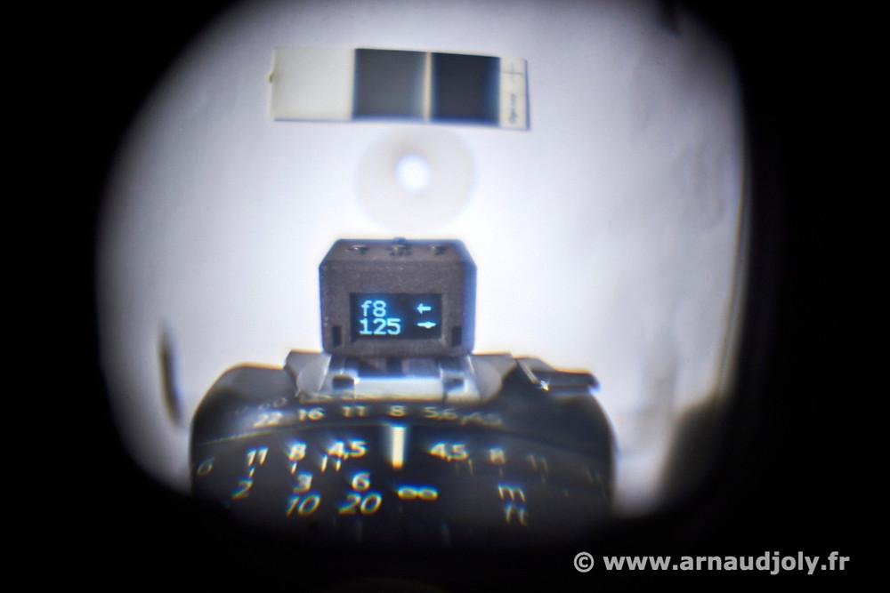 Vue à travers le viseur de l'Hasselblad SWC