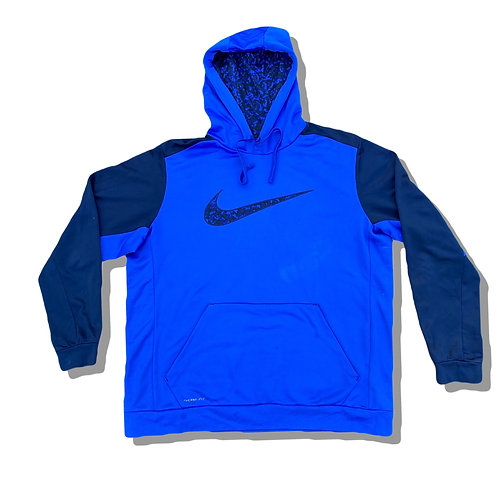 NIKE Blue Therma Fit Embroidered Tick Hoodie (XL)
