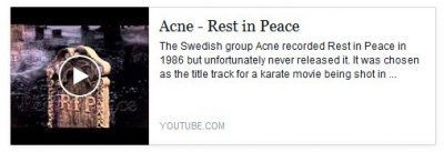 Link to pop band Acne's song, Rest In Peace