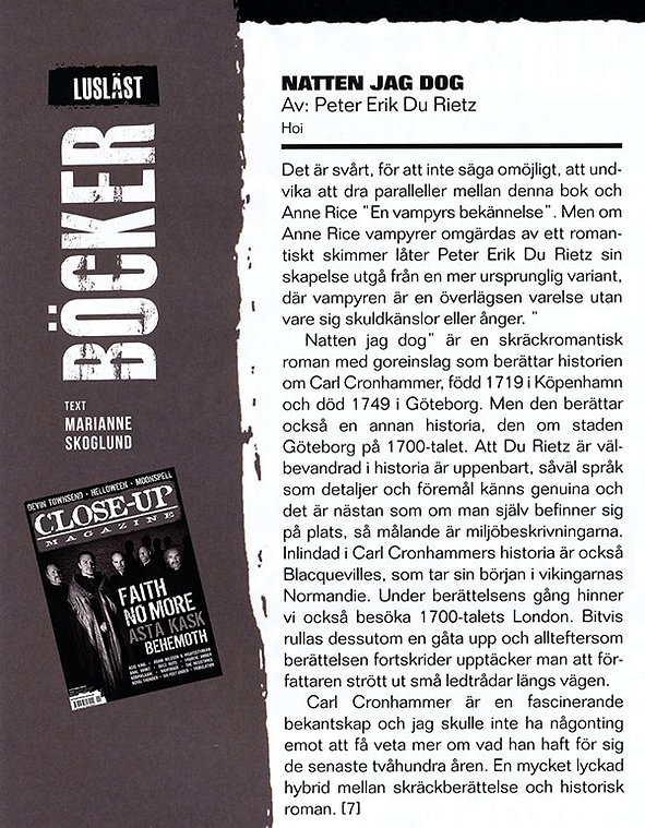 Recension av skräckromanen Natten jag dog, i tidningen Close-Up Magazine