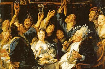 Vilt festande efter en lyckad wassailing.