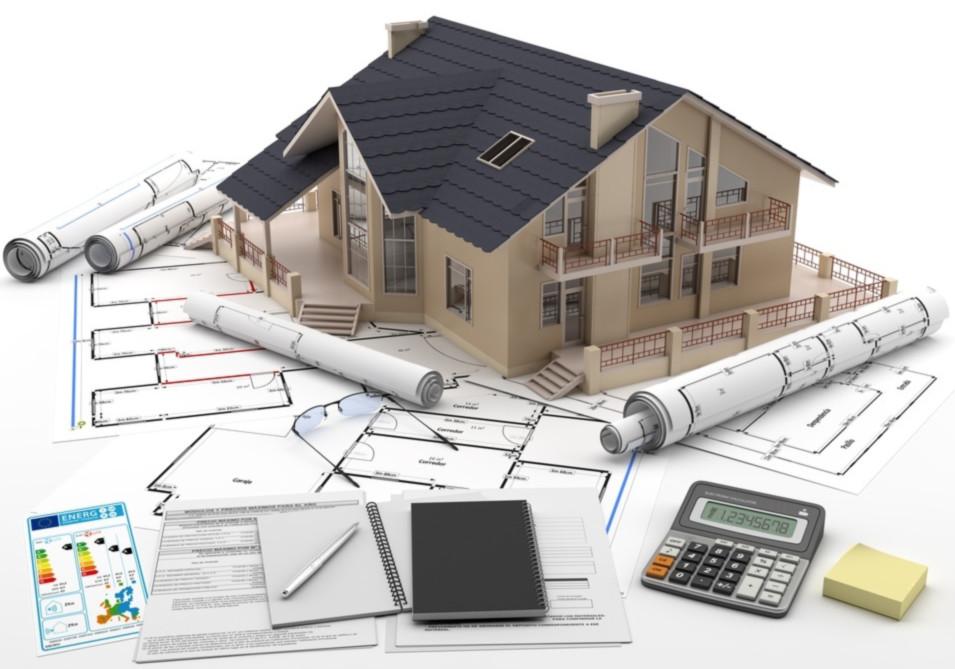 Regularizacao de imoveis - Maquete de uma casa sobre projetos e anotacoes