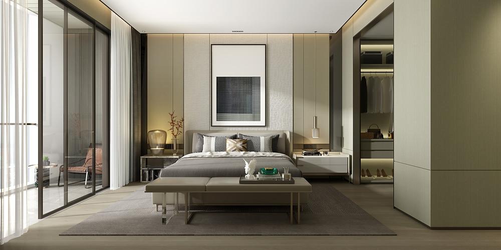 Ambiente integrado - União do quarto com o closet, utilizando tons de cinza e tapete para separação do cômodo