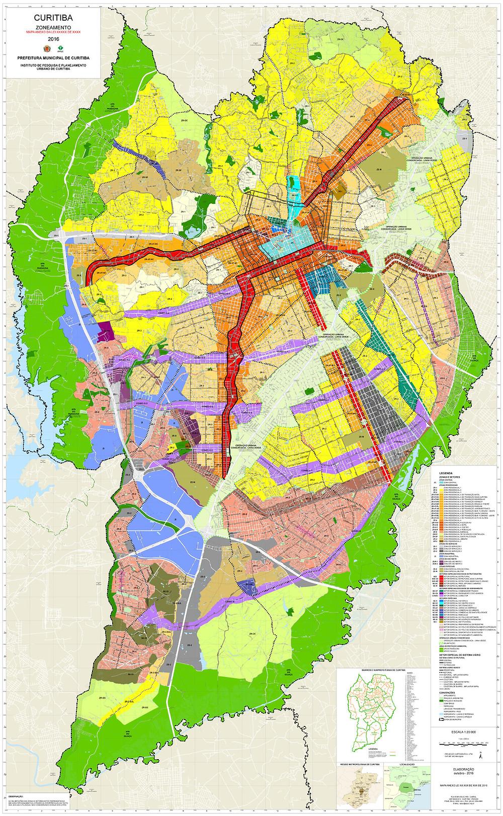 Zoneamento em Curitiba - Mapa de Curitiba dividindo as areas de acordo com a lei de zoneamento